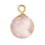 Natuursteen hangers crystal quartz 10mm Icy pink-gold