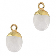 Natuursteen hangers White crystal-gold