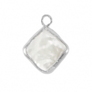 Zoetwaterparels bedel rhombus Silver-Natural white