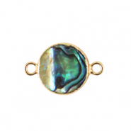 Zoetwaterparels tussenstuk rond 10mm Gold-Ocean green