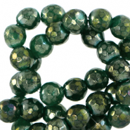 4 mm natuursteen kralen rond facet geslepen Olivine green-AB coating