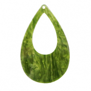 Resin hangers druppel 57x36mm Guacamole green