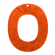 Resin hangers ovaal 48x40mm Tangerine tango orange