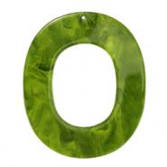 Resin hangers ovaal 48x40mm Guacamole green