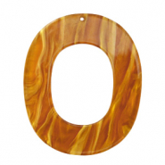 Resin hangers ovaal 48x40mm Golden brown