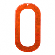 Resin hangers langwerpig ovaal 56x30mm Tangerine tango orange