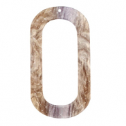 Resin hangers langwerpig ovaal 56x30mm Suger almond taupe