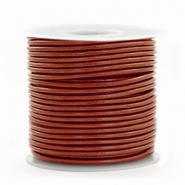 Voordeelrollen DQ Leer rond 1 mm Dark Russet brown metallic