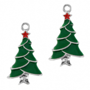 Basic Quality metalen bedels kerstboom Zilver-groen