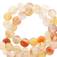 Half edelsteen kralen rond 4mm agate White-Orange flame opal