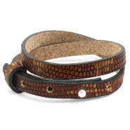 Cuoio armbanden leer croco 8 mm dubbel voor 12 mm cabochon Colonial brown-gold