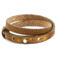 Cuoio armbanden leer croco 8 mm dubbel voor 12 mm cabochon Tobacco brown-gold