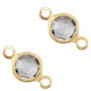 Bedels DQ metaal tussenstuk crystal glas rond 6mm Gold-Grey crystal