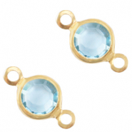 Bedels DQ metaal tussenstuk crystal glas rond 6mm Gold-Ether aqua blue crystal