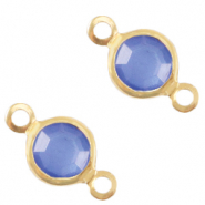 Bedels DQ metaal tussenstuk crystal glas rond 6mm Gold-Victoria blue crystal