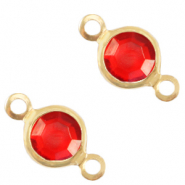 Bedels DQ metaal tussenstuk crystal glas rond 6mm Gold-Salsa red crystal