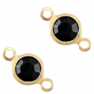 Bedels DQ metaal tussenstuk crystal glas rond 4mm Gold-Jet black opaque