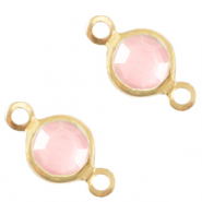 Bedels DQ metaal tussenstuk crystal glas rond 4mm Gold-Rose pink crystal