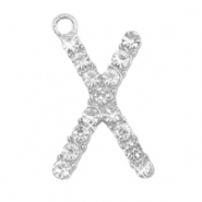 Basic quality metalen bedels strass initial X Antiek zilver