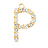 Basic quality metalen bedels strass initial P Goud