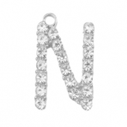 Basic quality metalen bedels strass initial N Antiek zilver