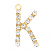 Basic quality metalen bedels strass initial K Goud