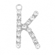 Basic quality metalen bedels strass initial K Antiek zilver