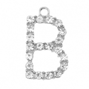 Basic quality metalen bedels strass initial B Antiek zilver
