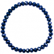 Top facet armbandjes 6x4mm Evening blue-pearl shine coating
