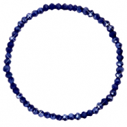 Top facet armbandjes 4x3mm Evening blue-pearl shine coating