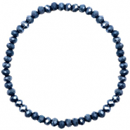 Top facet armbandjes 4x3mm Dark blue-pearl shine coating
