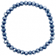 Top facet armbandjes 6x4mm Blue stone-pearl shine coating