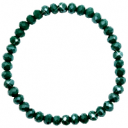 Top facet armbandjes 6x4mm Dark eden green-pearl shine coating