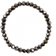 Top facet armbandjes 6x4mm Dark olive green-pearl shine coating