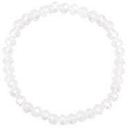 Top facet armbandjes 6x4mm White opal-pearl shine coating