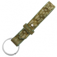 Cuoio sleutelhangers leer croco 15mm Olive green-silver