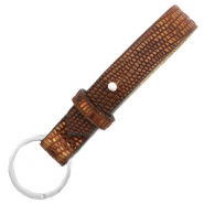 Cuoio sleutelhangers leer croco 15mm Colonial brown-gold