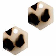 Resin hangers hexagon Cream black