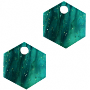 Resin hangers hexagon Ocean green