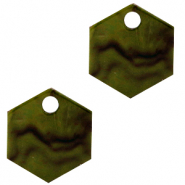 Resin hangers hexagon Olive green
