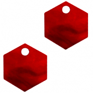 Resin hangers hexagon Cherry red