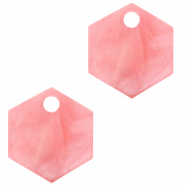 Resin hangers hexagon Living coral pink
