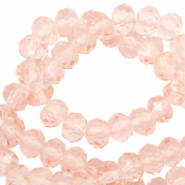 Top Facet kralen 3x2 mm disc Peachy rose-pearl shine coating