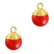 Natuursteen hangers wire wrapped Red marble-gold