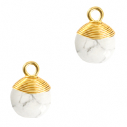 Natuursteen hangers wire wrapped White marble-gold