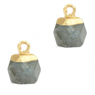 Natuursteen hangers hexagon Fossil grey-gold