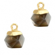 Natuursteen hangers hexagon Black diamond-gold