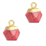 Natuursteen hangers hexagon Red marble-gold
