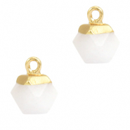 Natuursteen hangers hexagon White-gold