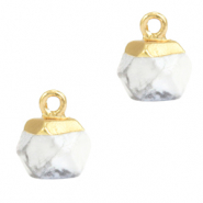 Natuursteen hangers hexagon White marble-gold
